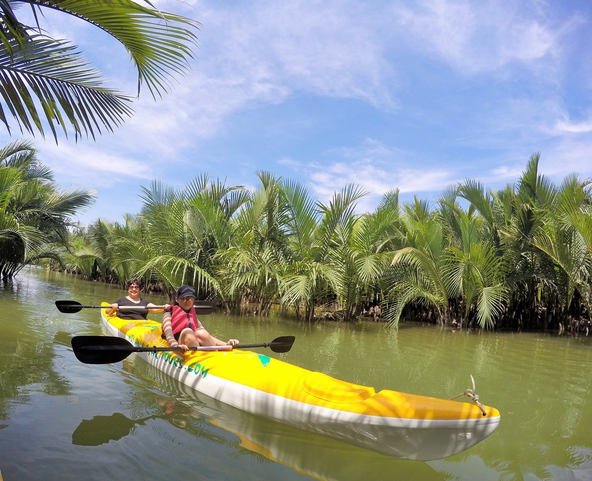 Kayak Tourists Relaxing In Mangrove Forest Hoi An